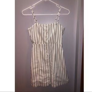 Forever 21 Black and White Stripe Linen Dress